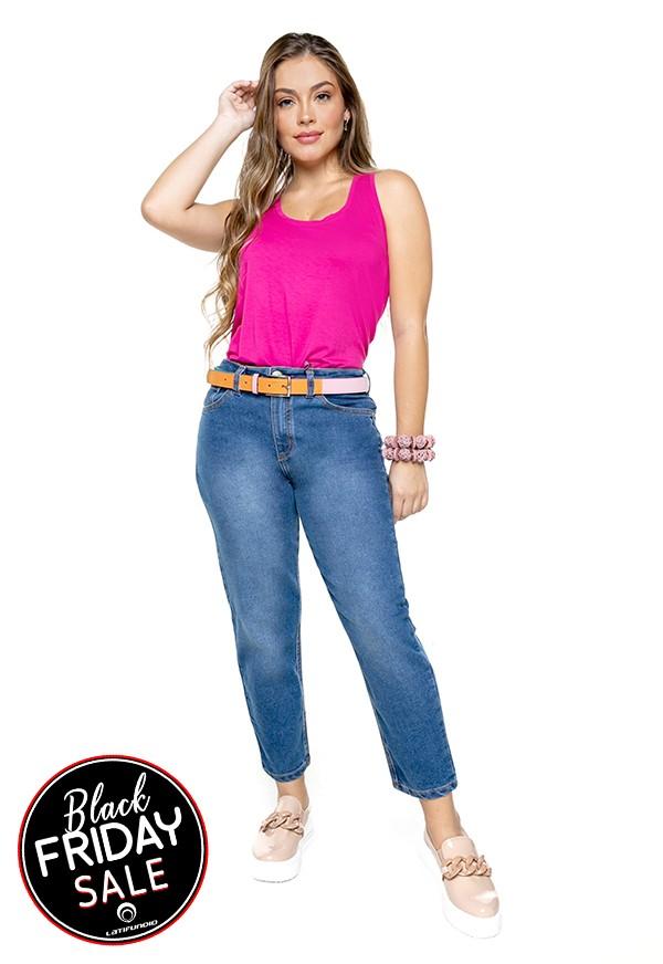 Calça Feminina Mom  Jeans com Elastano