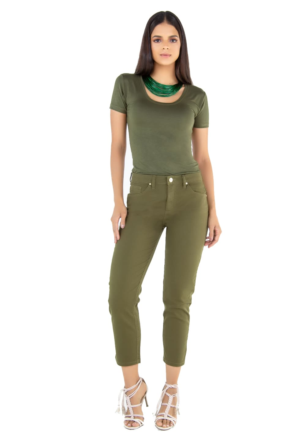 Calça Feminina Mom Verde Militar