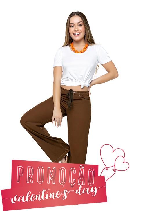 Calça Feminina Pantalona Sarja Leve
