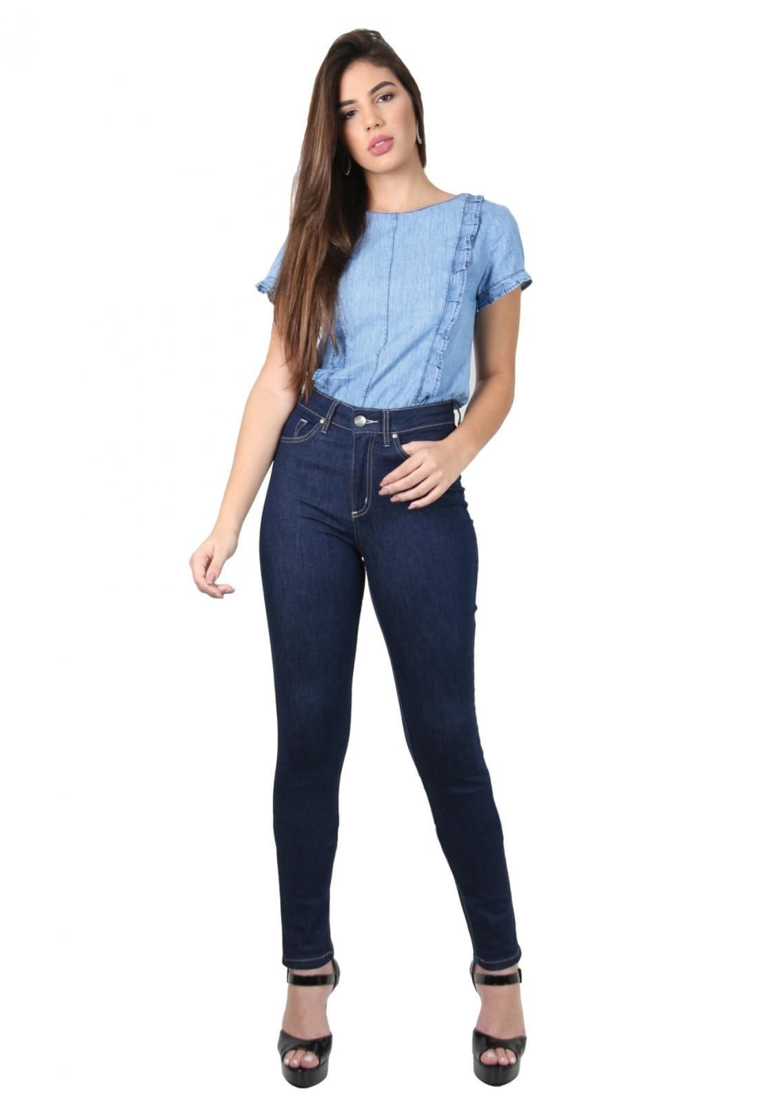 Calça Feminina Tradicional Alta Jeans Skinny