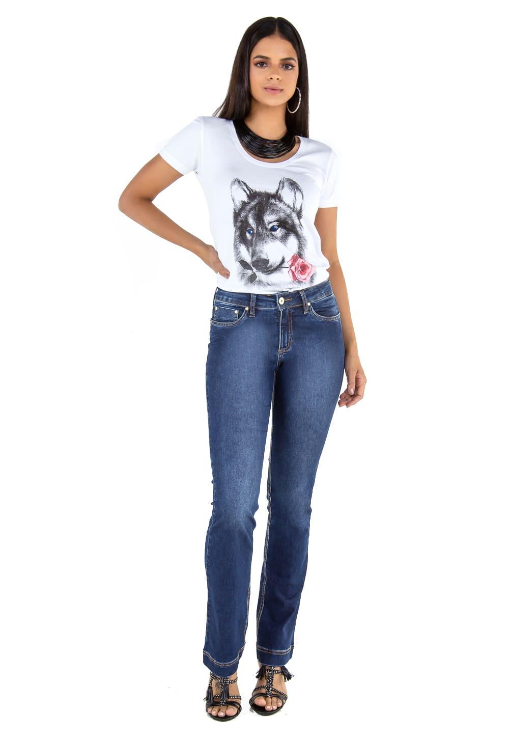 Calça Feminina Tradicional Boot Cut Jeans Escuro