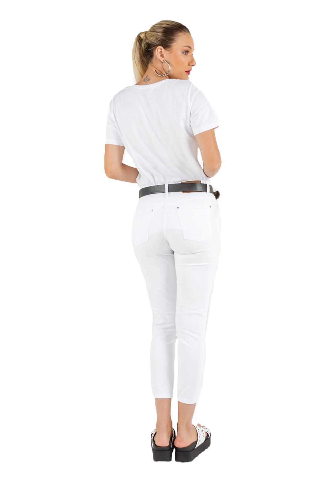 Calça Feminina Tradicional Cropped - Sarja Branco