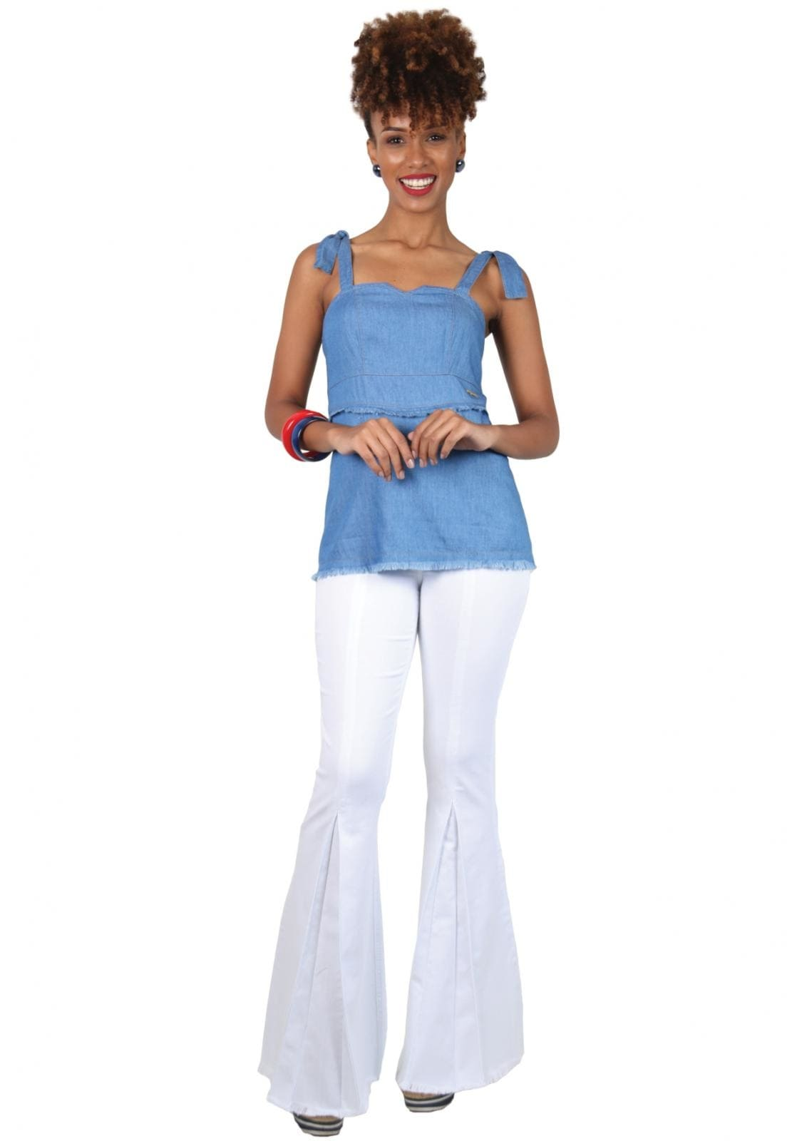 Calça Feminina Tradicional Sino Branco