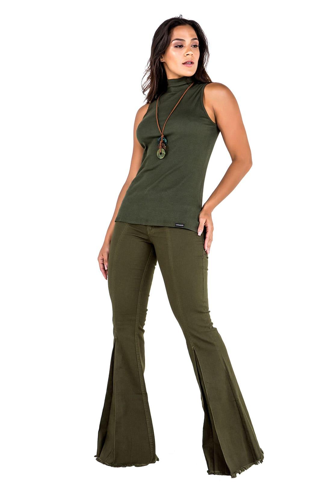 Calça Feminina Tradicional Sino Verde Militar