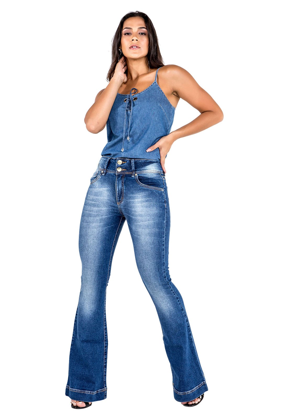 Calça Flare Feminina Tradicional Alta Jeans