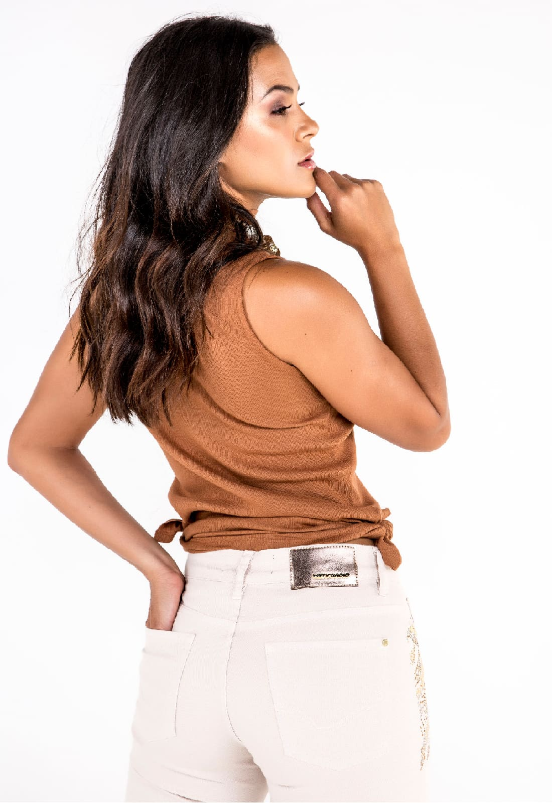 Calça Flare Feminina Tradicional Off White com Strass