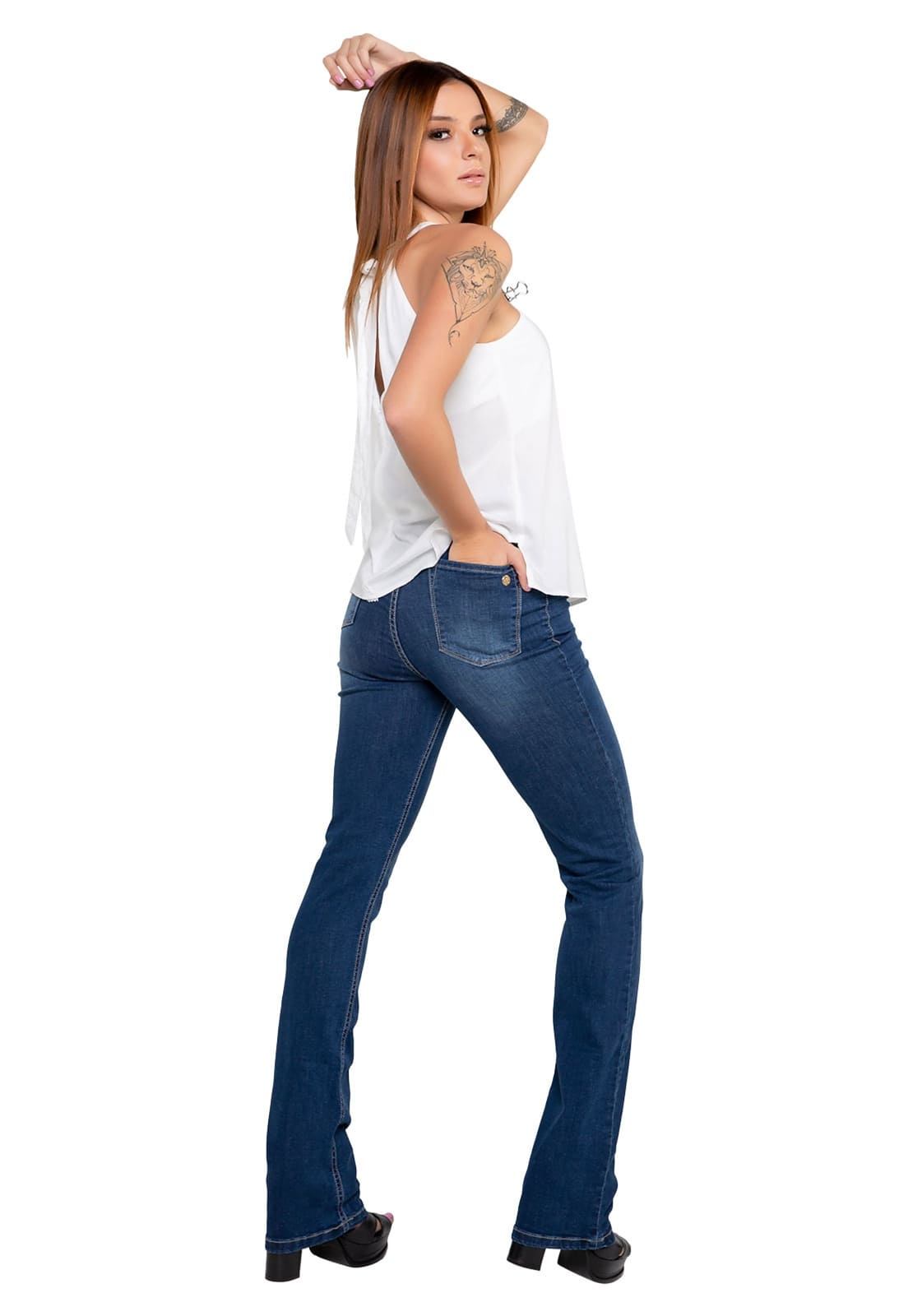 Calça Jeans Feminina Alta Boot Cut