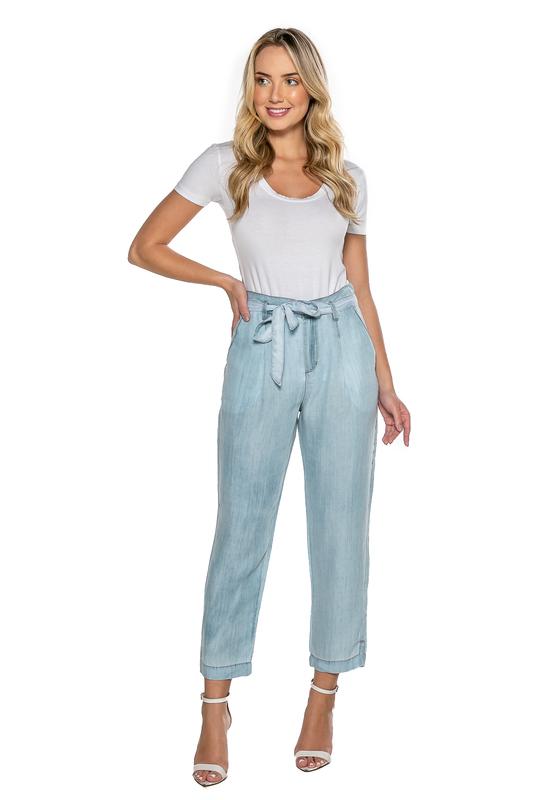 Calça Jeans Feminina Carrot com Laço Cintura