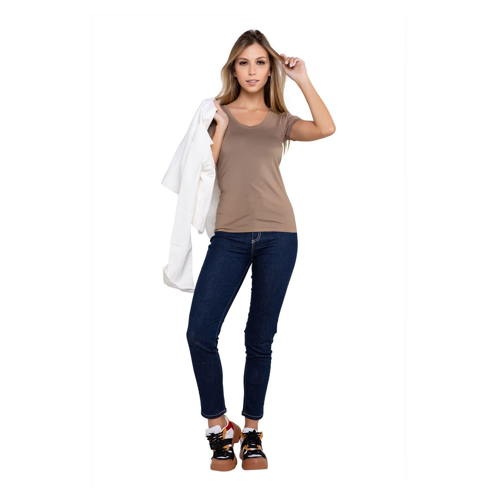 Calça Jeans Feminina Cintura Alta Cropped