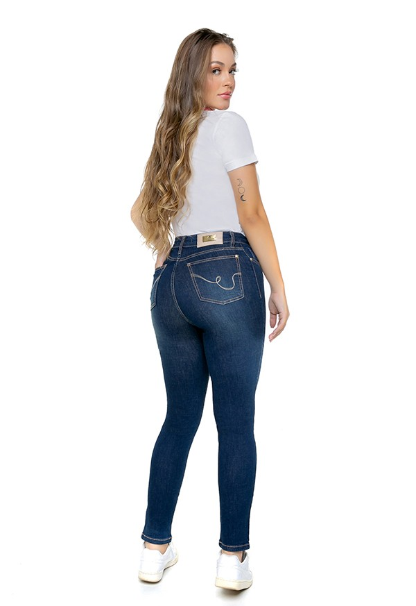Calça Jeans Feminina Cropped Cintura Alta