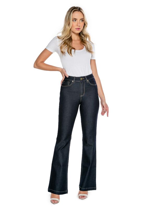 Calça Jeans Feminina Flare Alta Azul