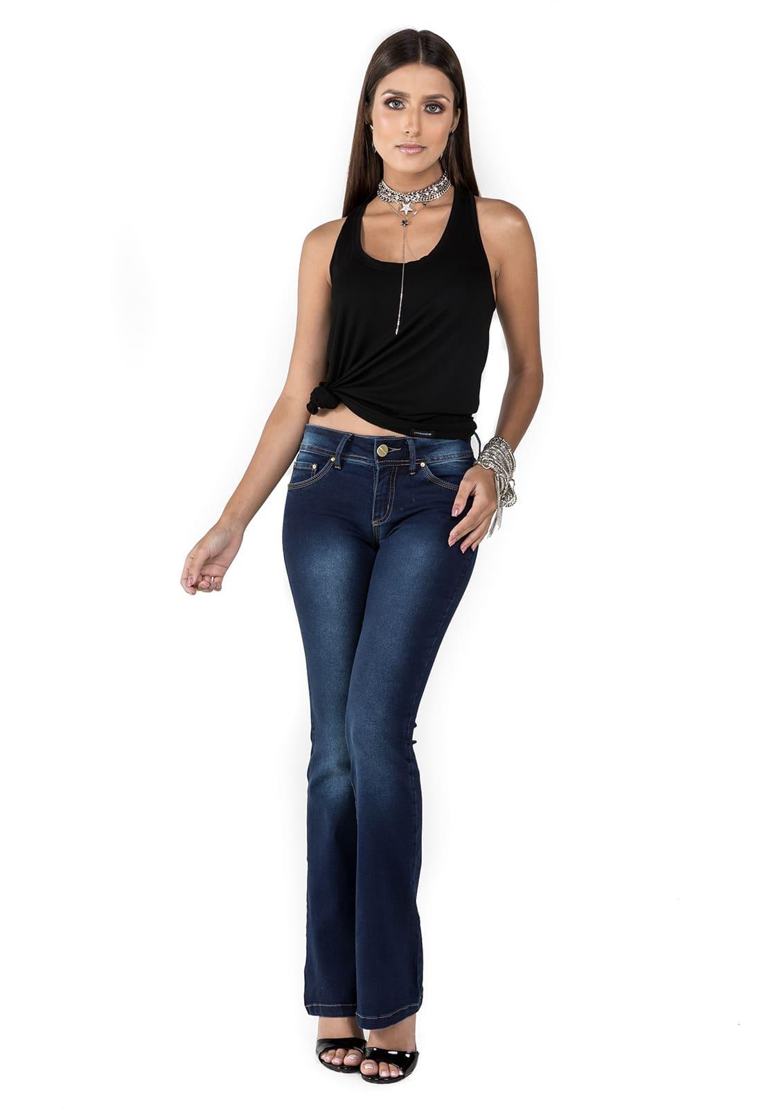 Calça Jeans Feminina Flare Intermediária Azul