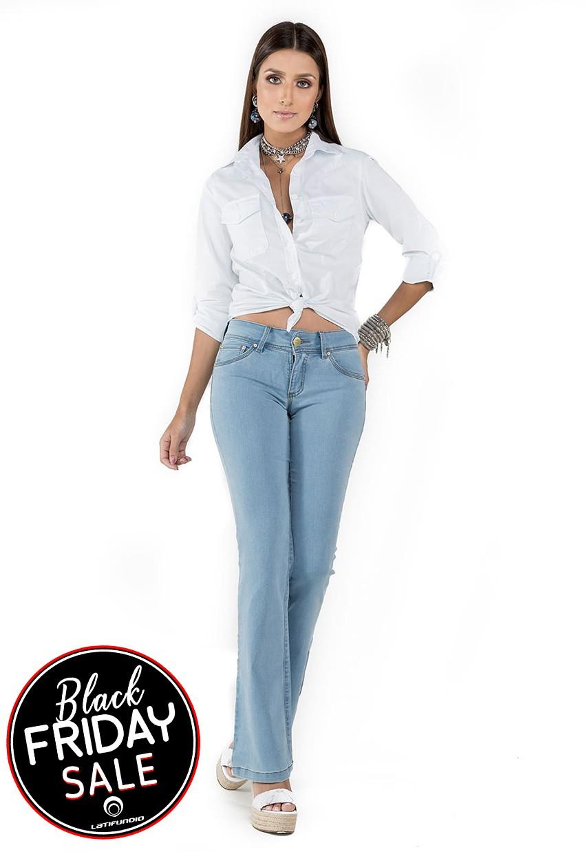 Calça Jeans Feminina Flare Latifundio Intermediária
