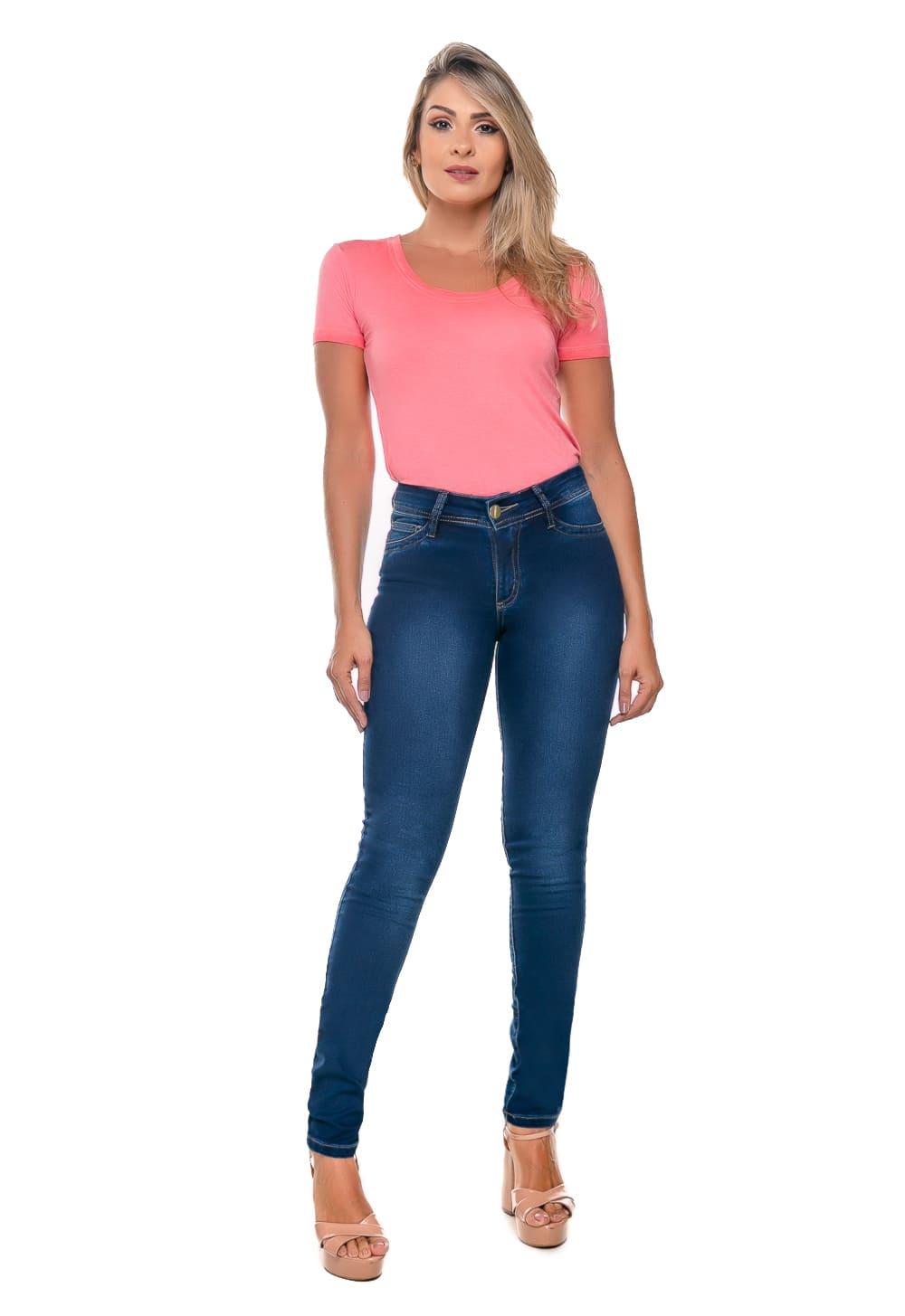Calça Jeans Feminina Tradicional Cigarrete Stone Azul