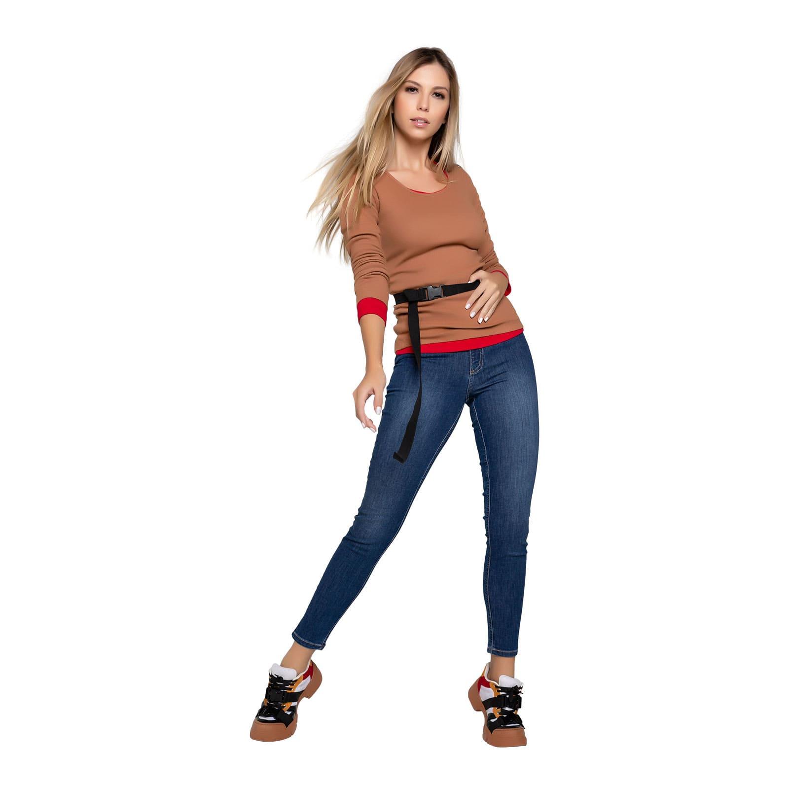 Calça Jeans Feminina Tradicional Cropped
