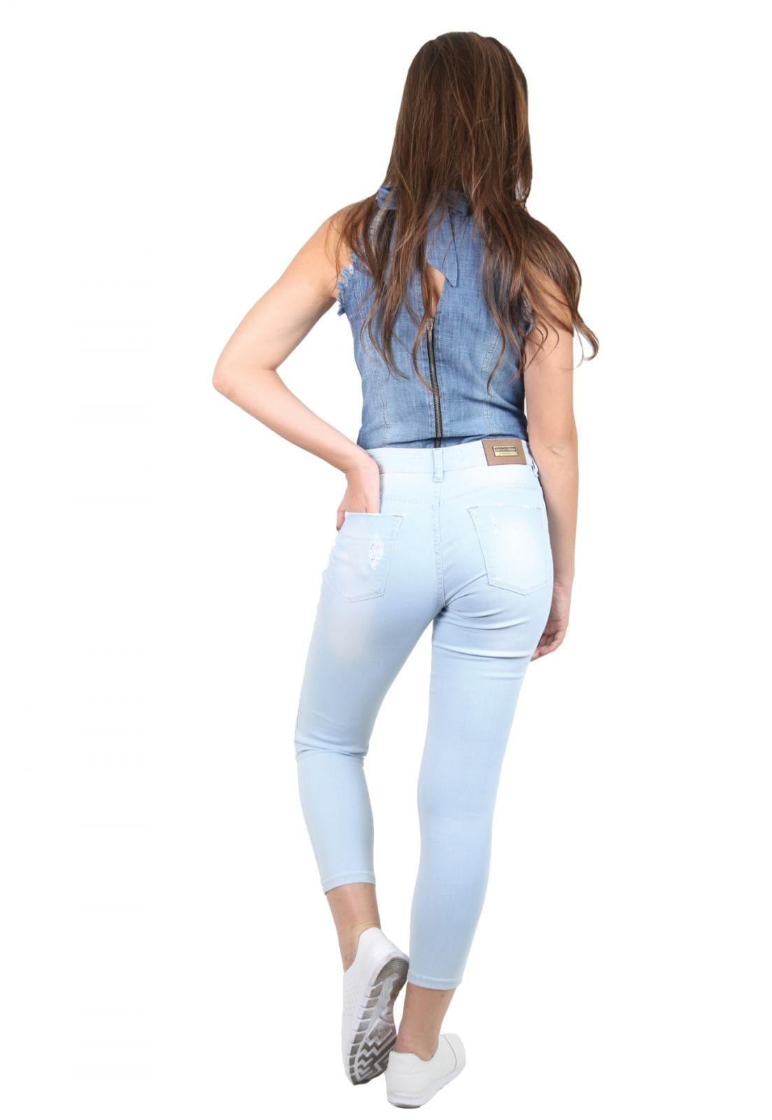 Calça Jeans Feminina Tradicional Cropped Azul