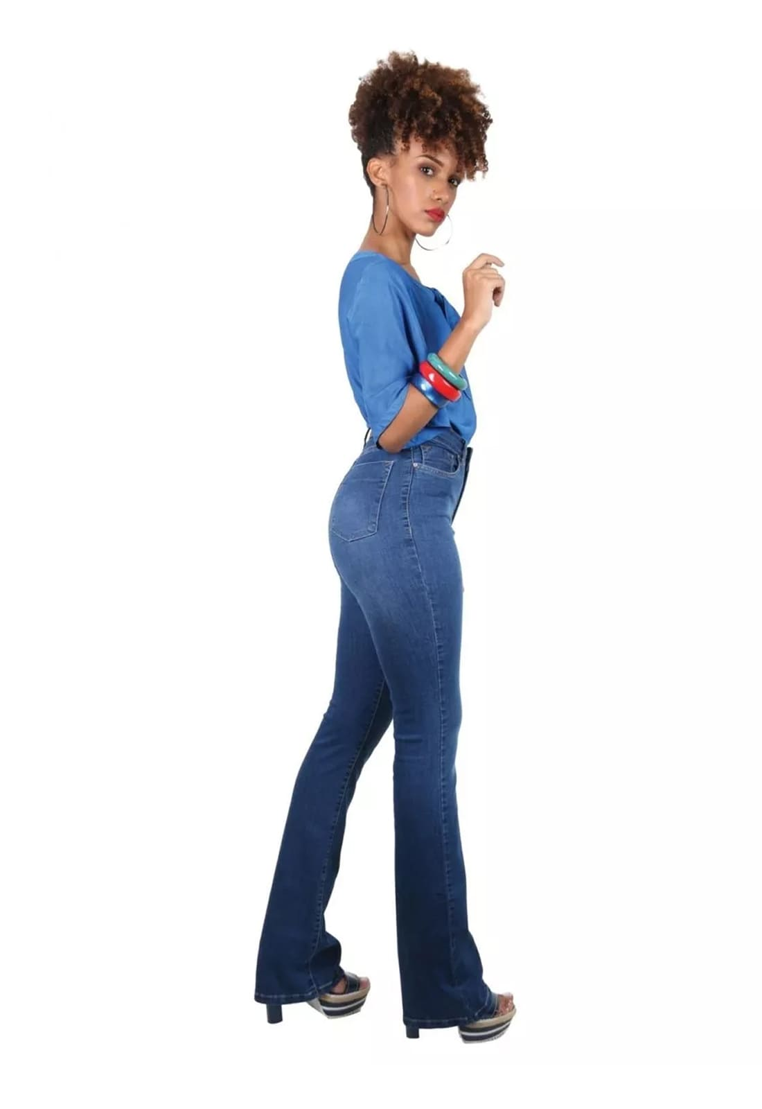 Calça Jeans Feminina Tradicional Flare