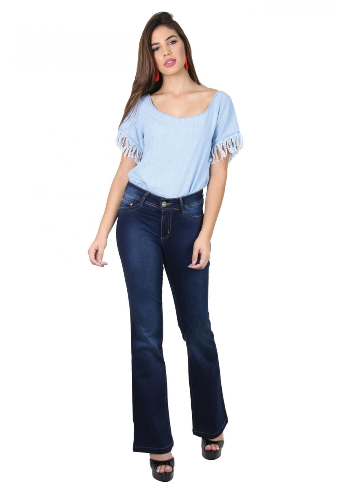 Calça Jeans Feminina Tradicional Flare Azul