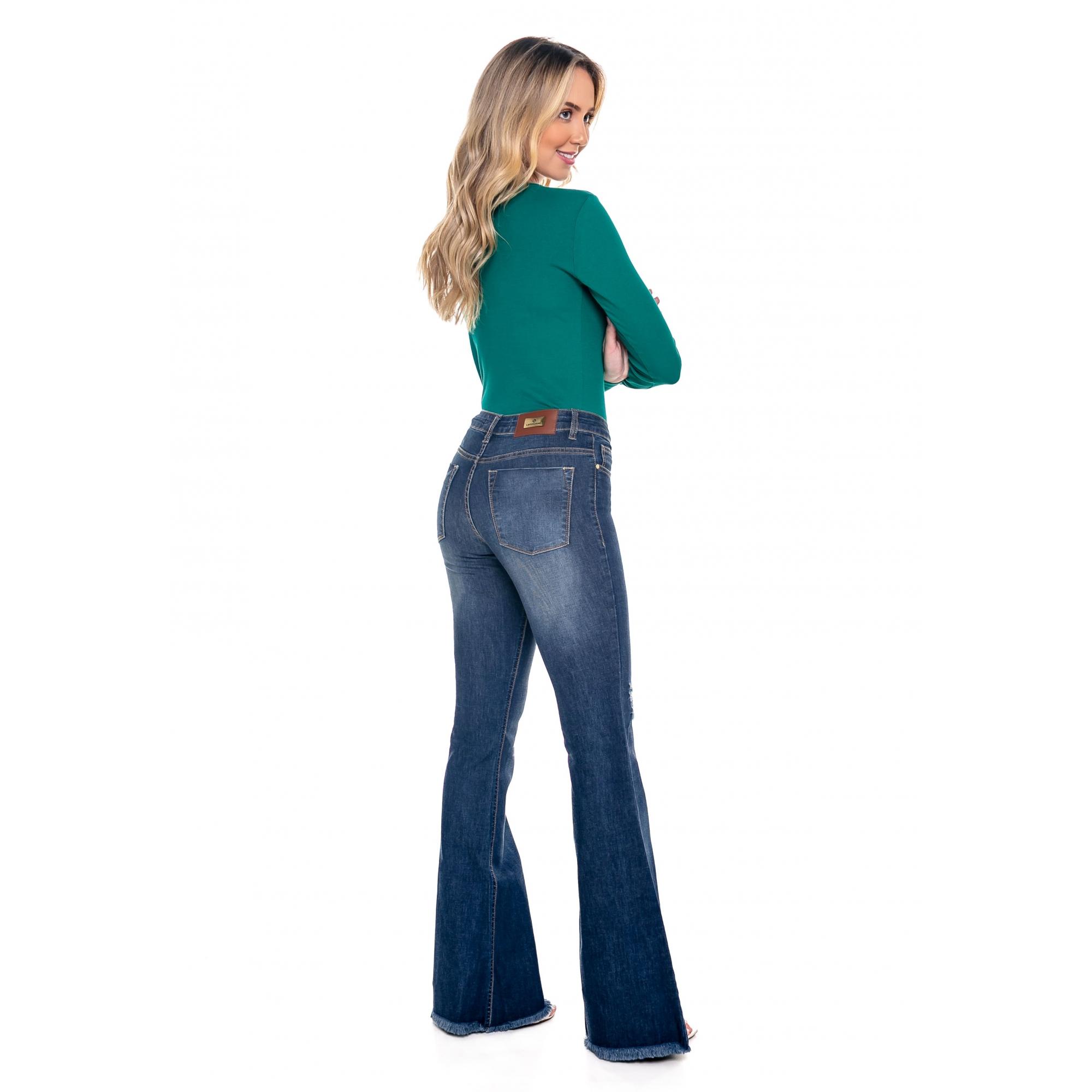 Calça Jeans Feminina Tradicional Sino Destroyed
