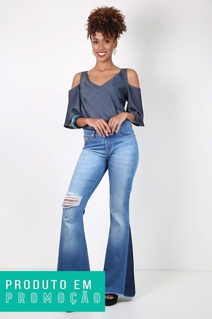 Calça Jeans Feminina Tradicional Sino Destroyed Azul