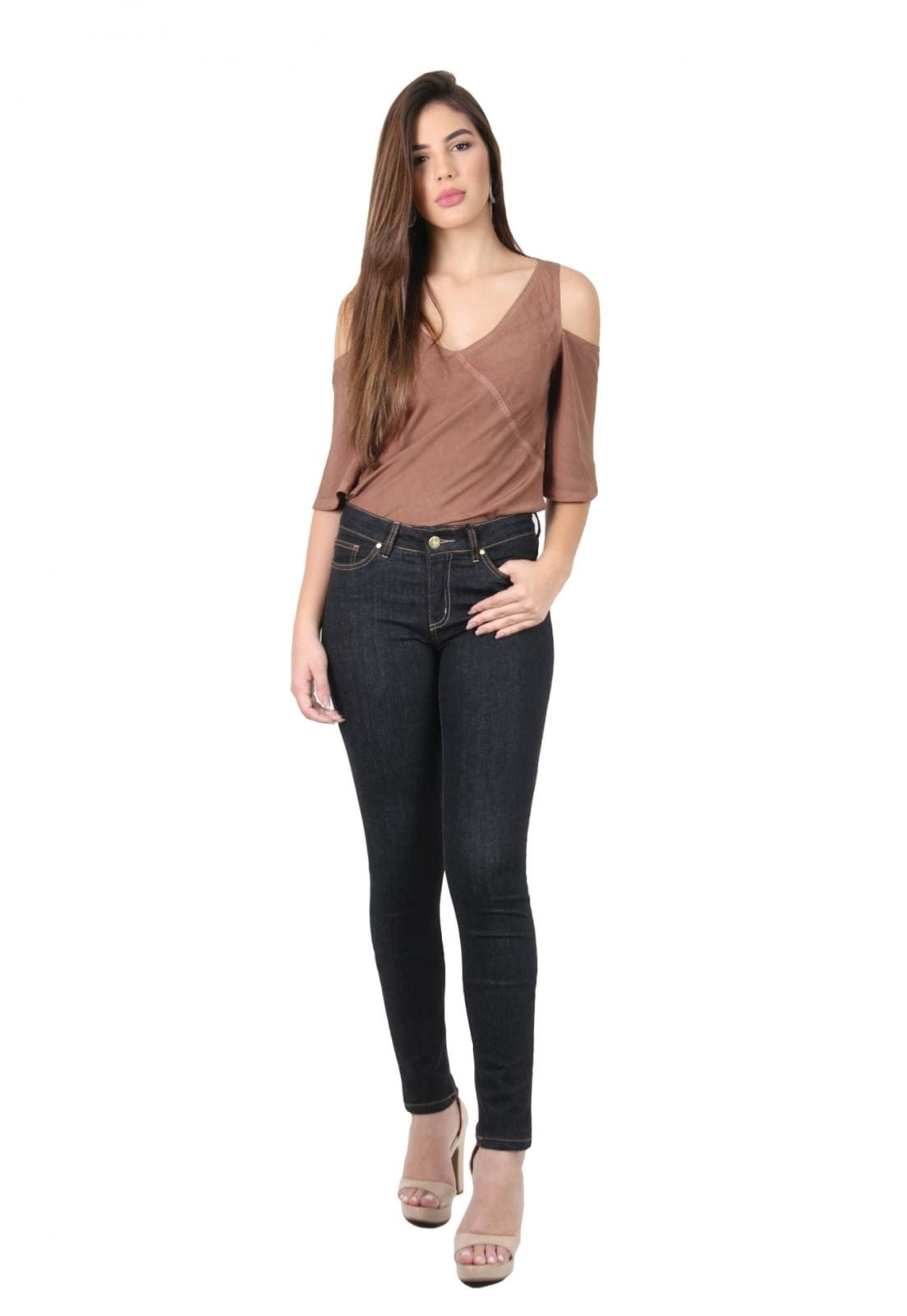 Calça Jeans Feminina Tradicional Skinny Preta
