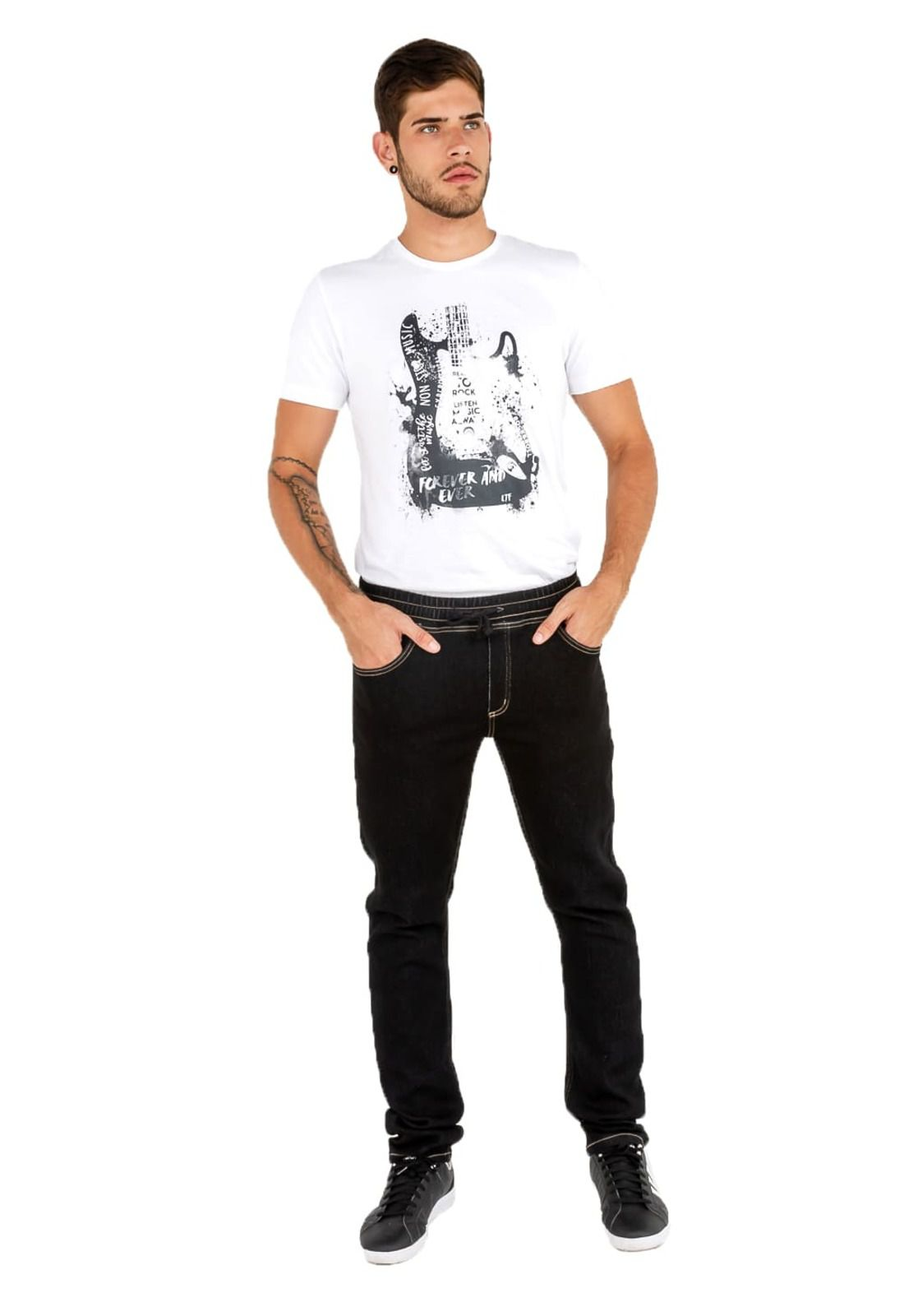 Calça Jeans Masculina Latifundio Jogger Preto