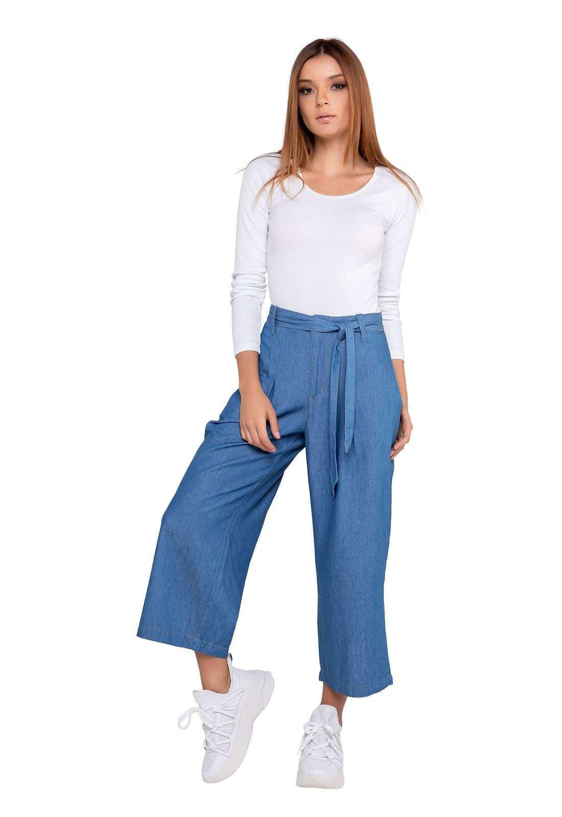 Calça Jeans Pantacourt Feminina