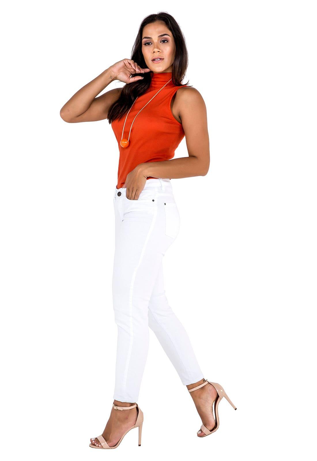 Calça Sarja Feminina Cropped Tradicional Branca