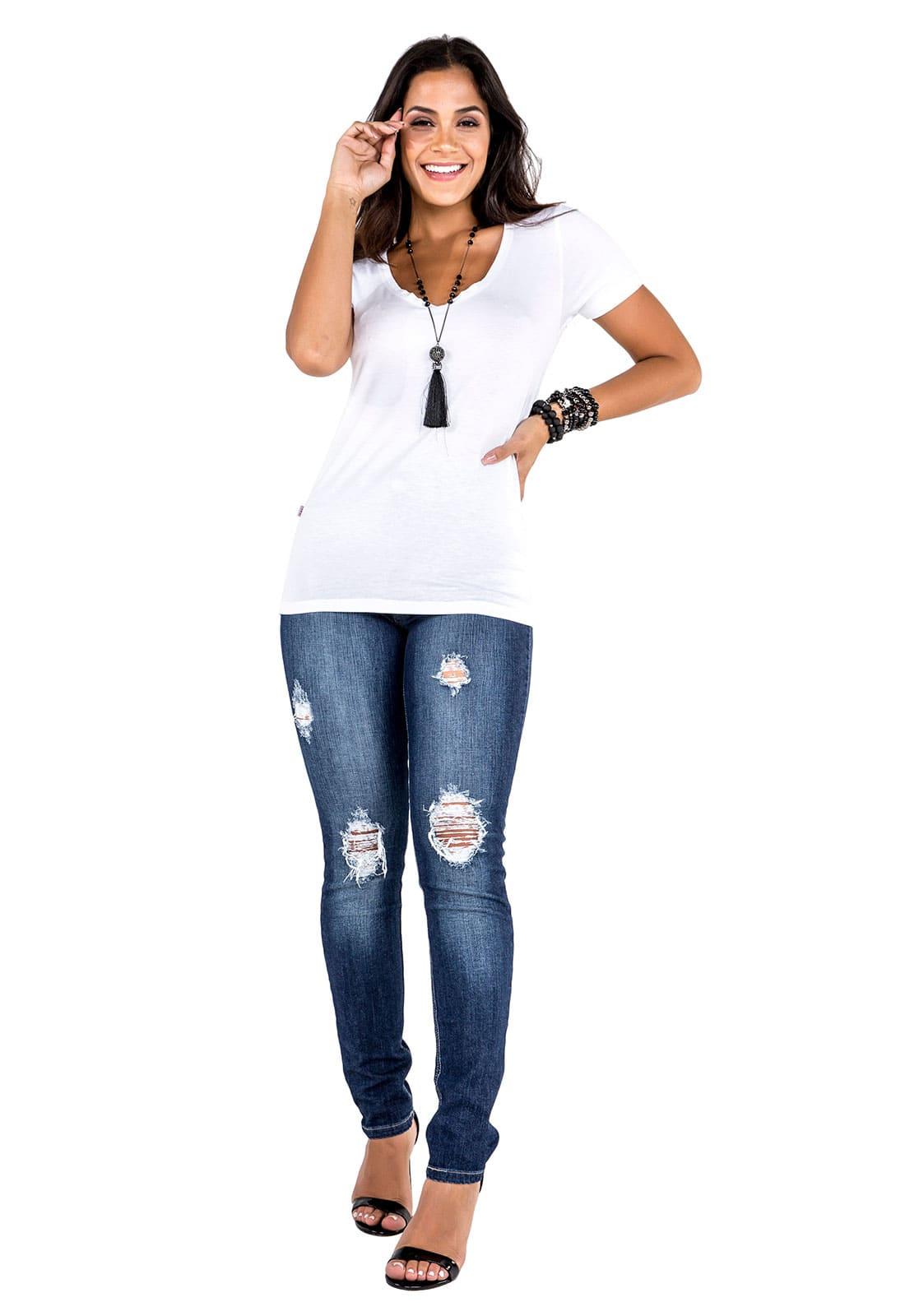 Calça Skinny Feminina Tradicional Alta Jeans com Rasgados