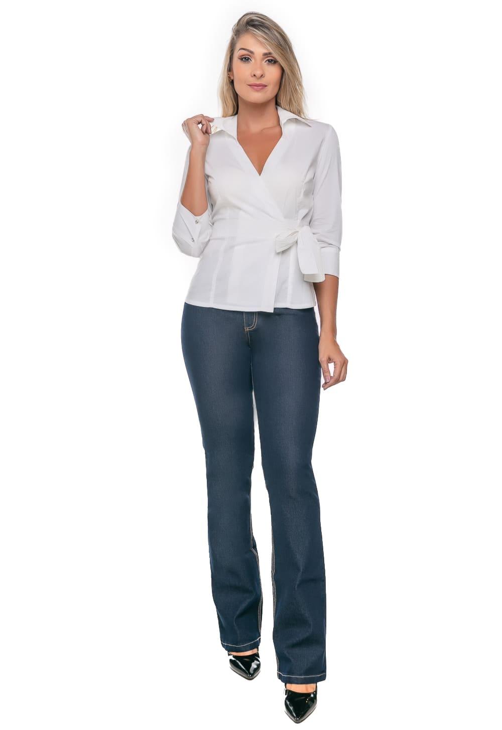 Camisa Feminina com Amarração Branca