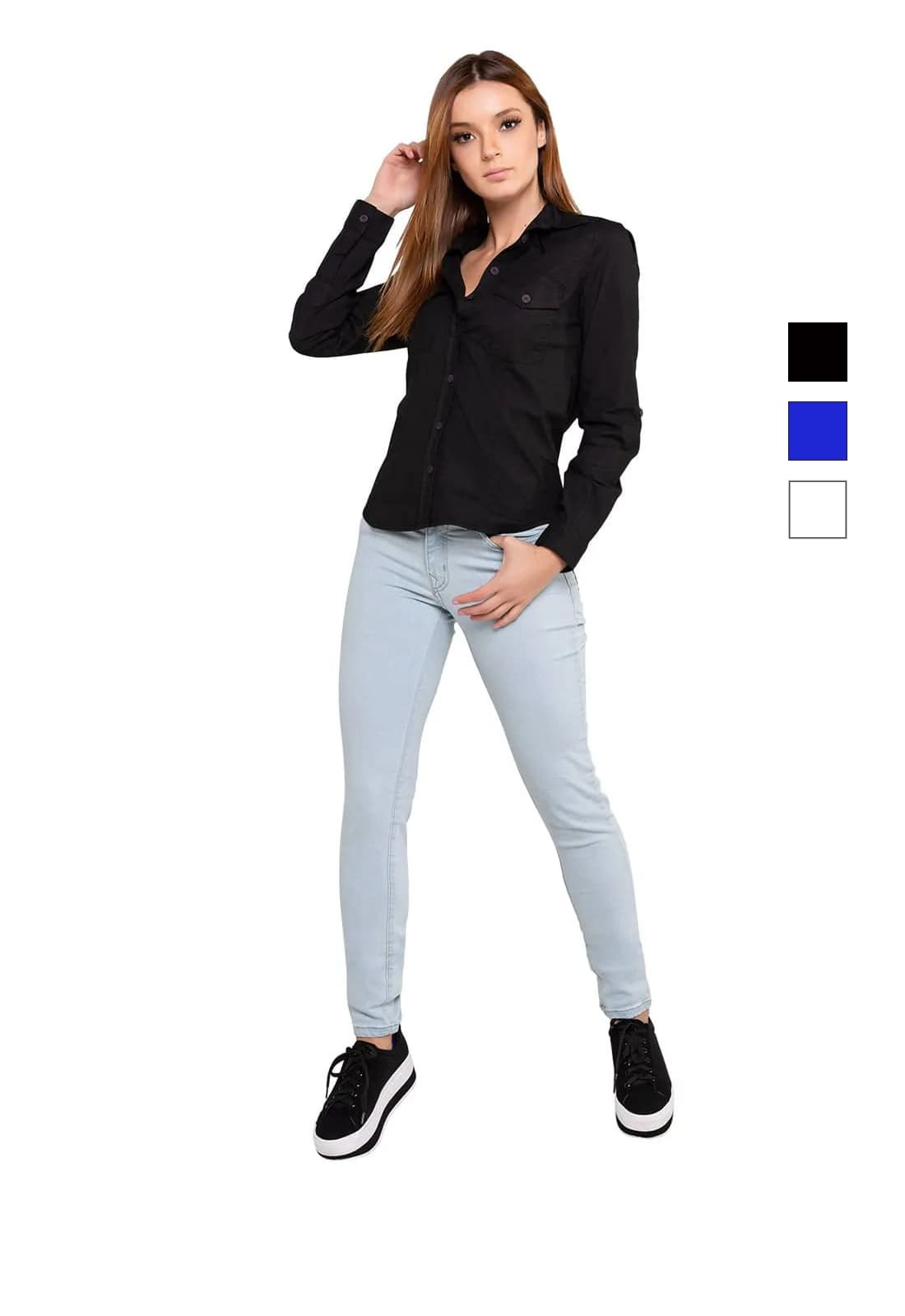 Camisa Feminina Tricoline com Elastano Manga Longa