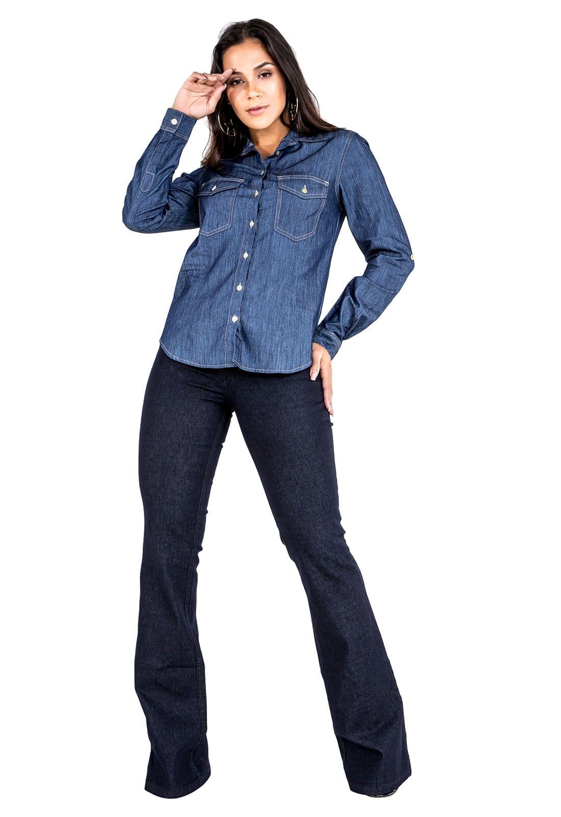Camisa Jeans Feminina Manga Longa