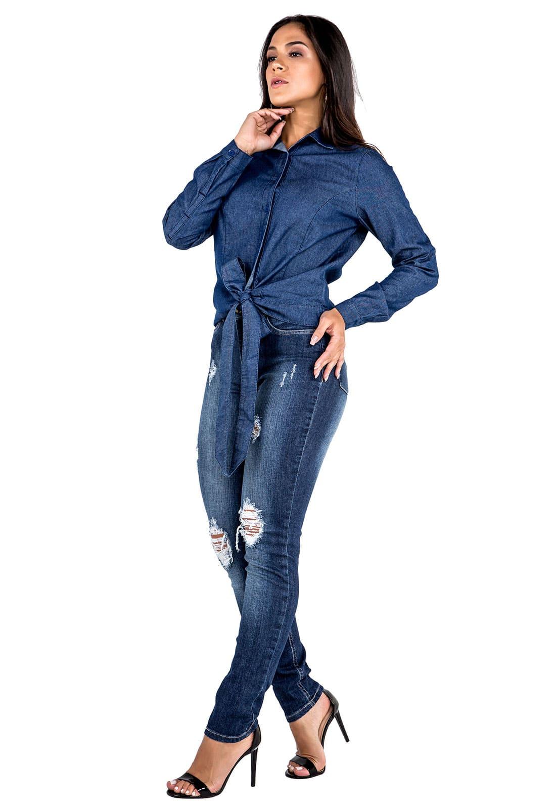 Camisa Jeans Feminina Manga Longa com Amarração