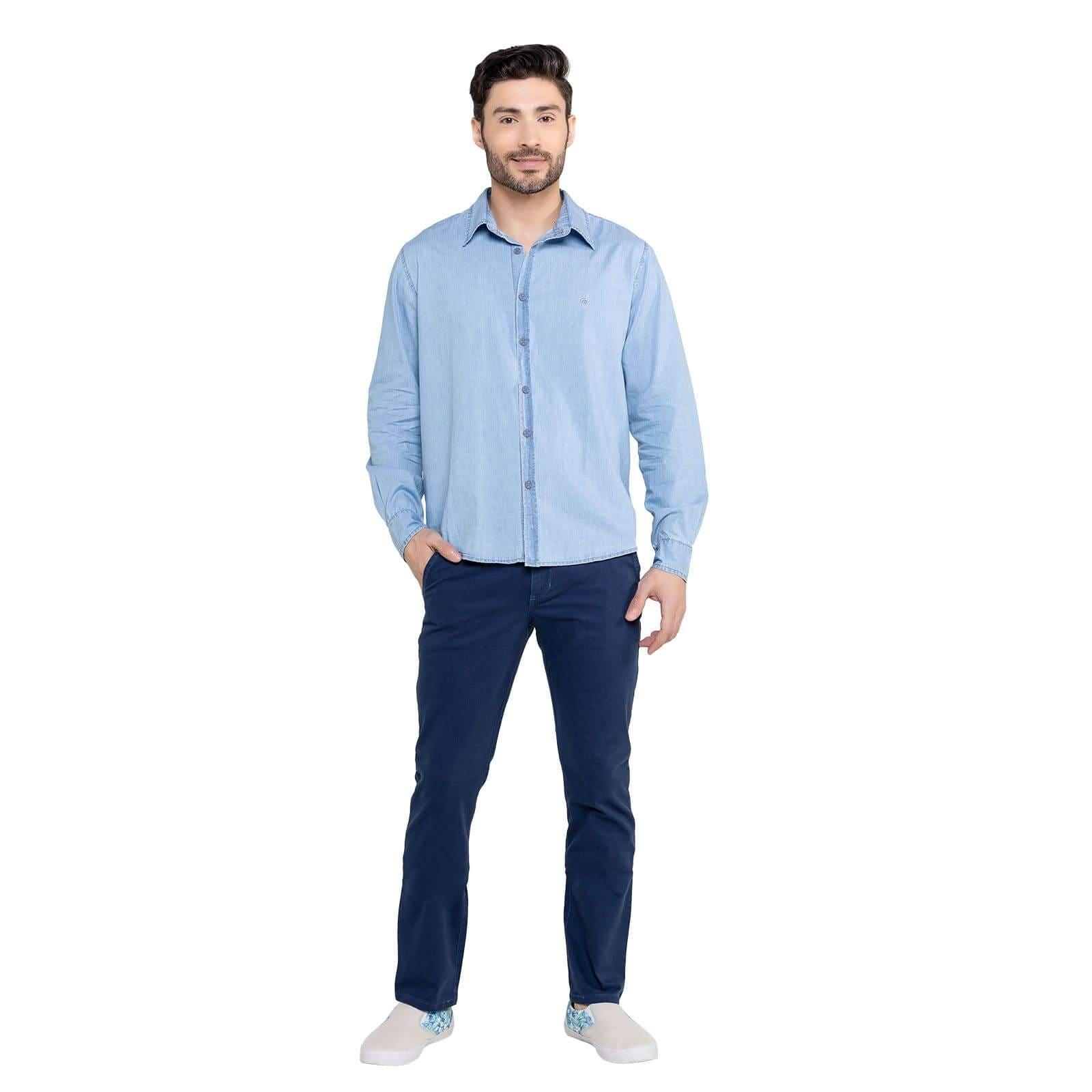 Camisa Jeans Masculina Manga Longa Jeans Claro
