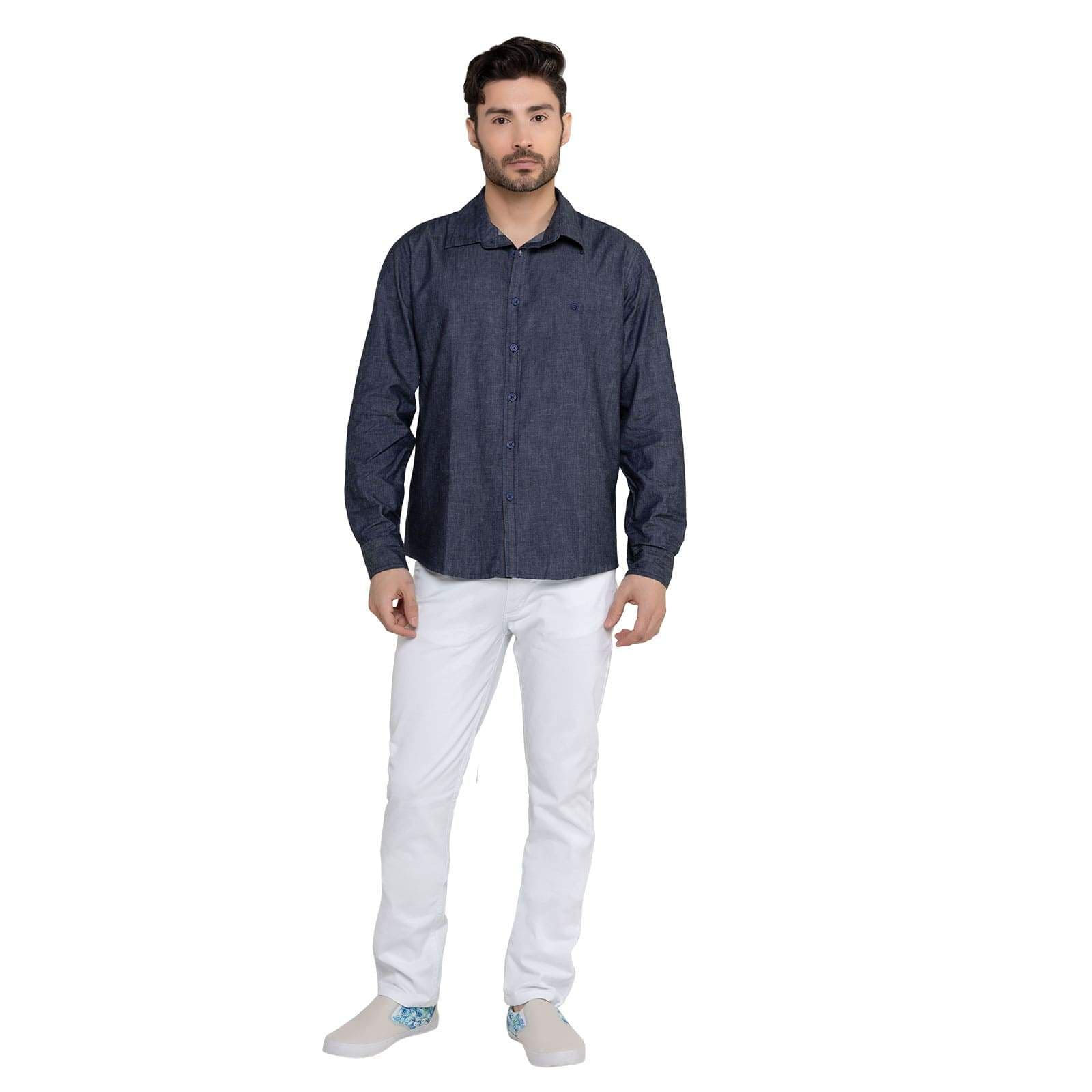 Camisa Jeans Masculina Manga Longa Jeans Escuro