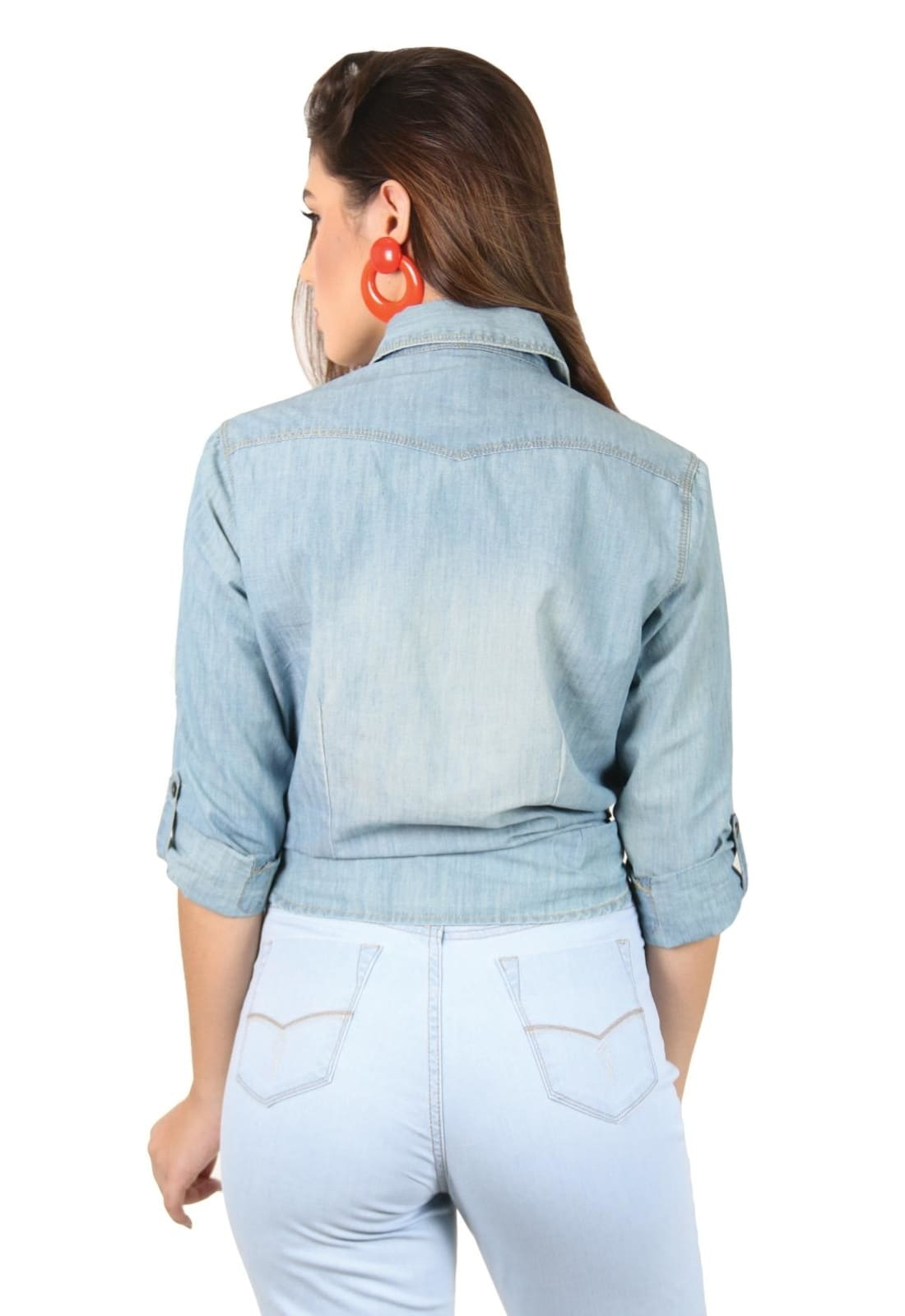 Camisa Latifundio Jeans Manga Longa