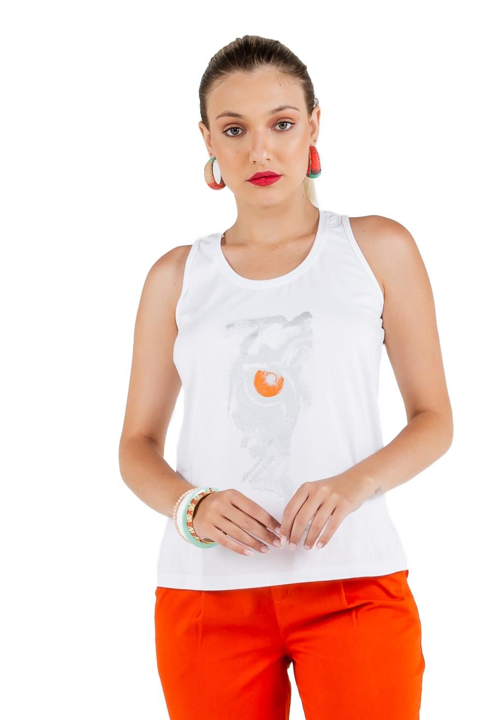 Camiseta Básica Feminina Estampa Eye Prata