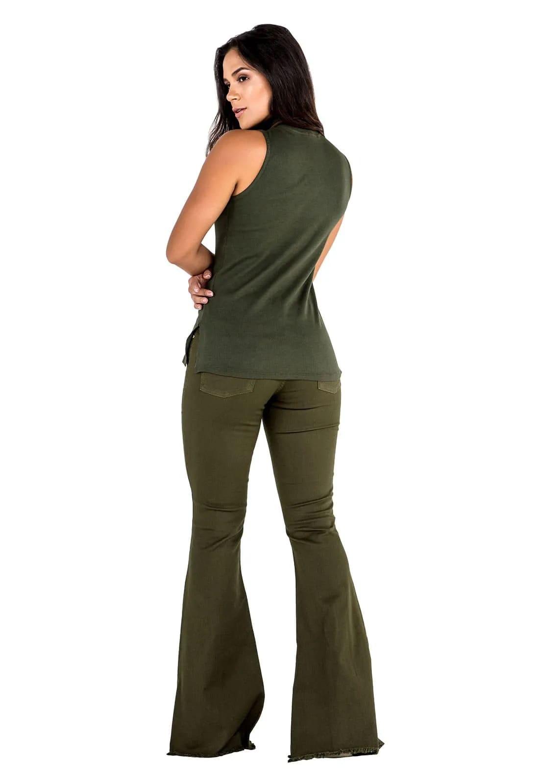 2 Blusas Feminina Latifundio Gola Alta - Cores Páprica e Verde Militar