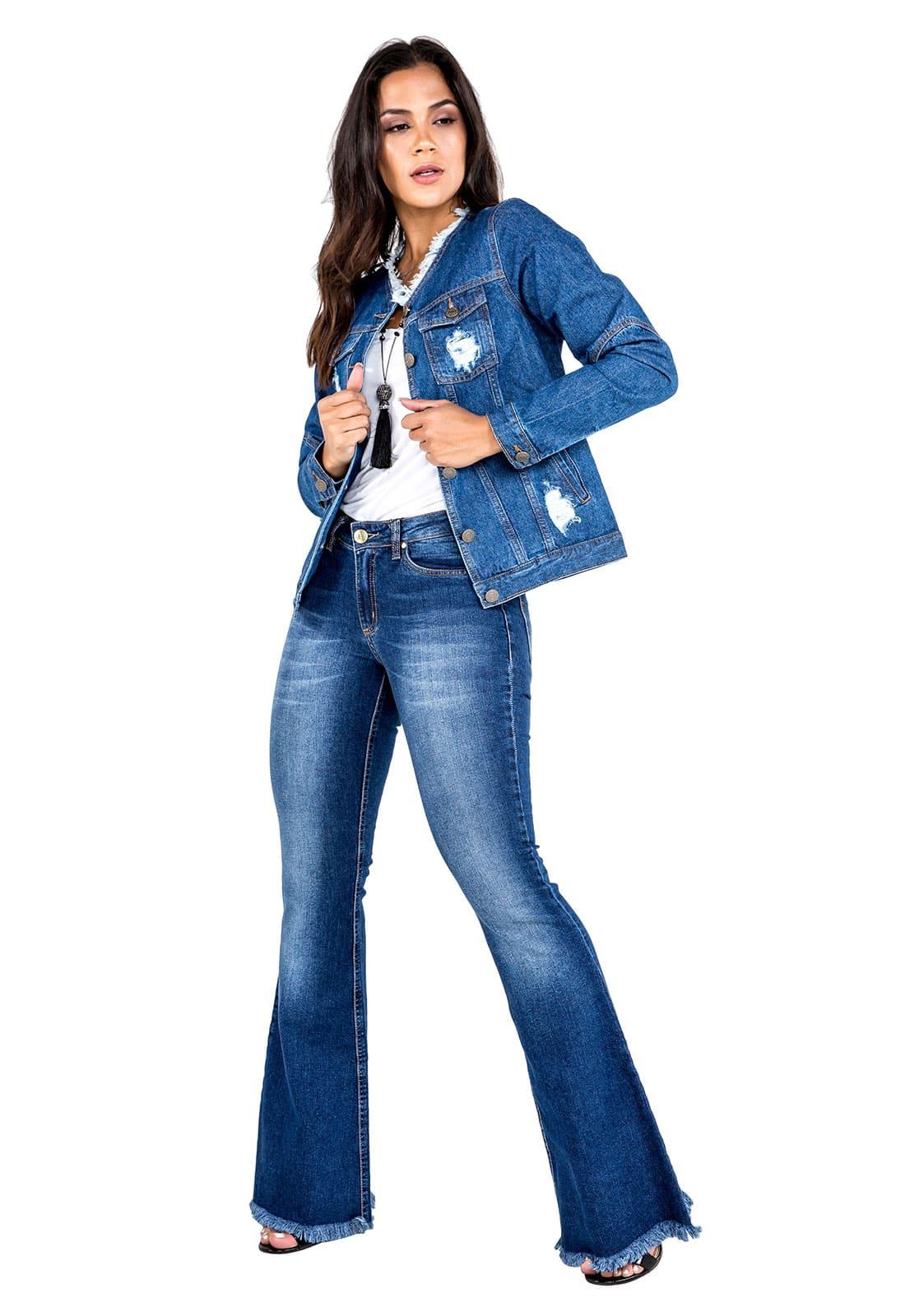 Jaqueta Jeans Feminina com Puídos
