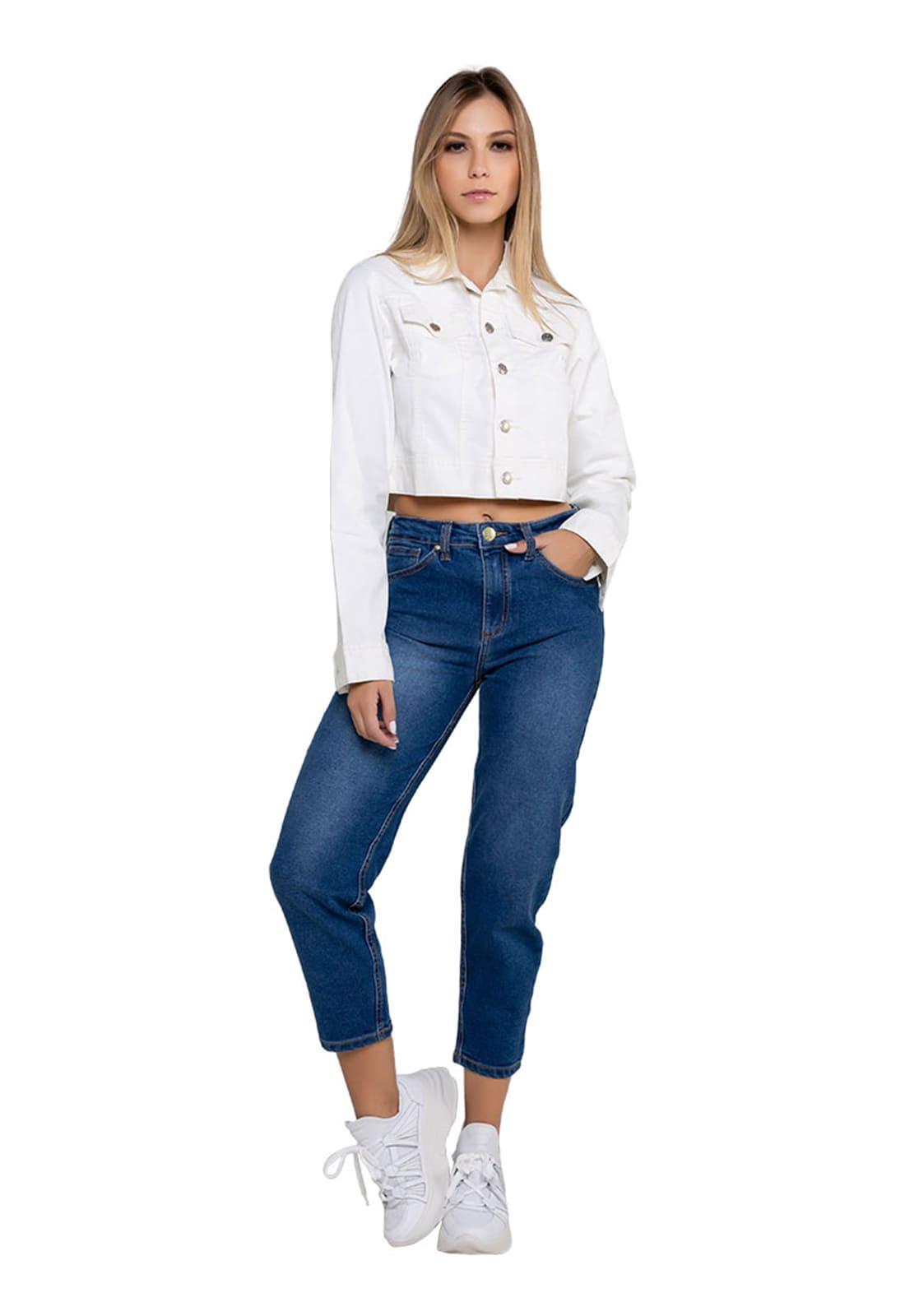 Jaqueta Jeans Feminina Latifundio com Elastano Off White