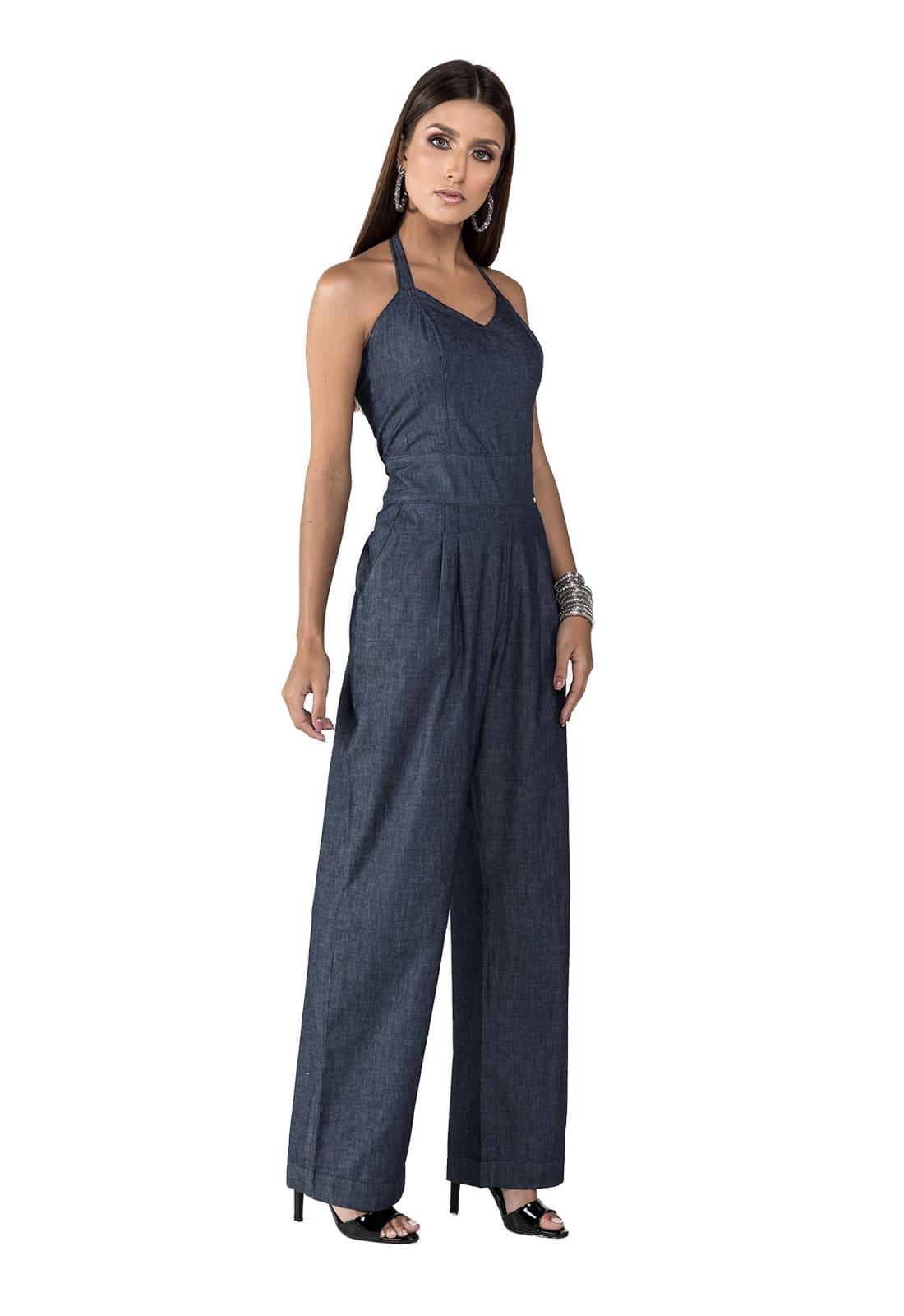 Macacão Jeans Frente Única