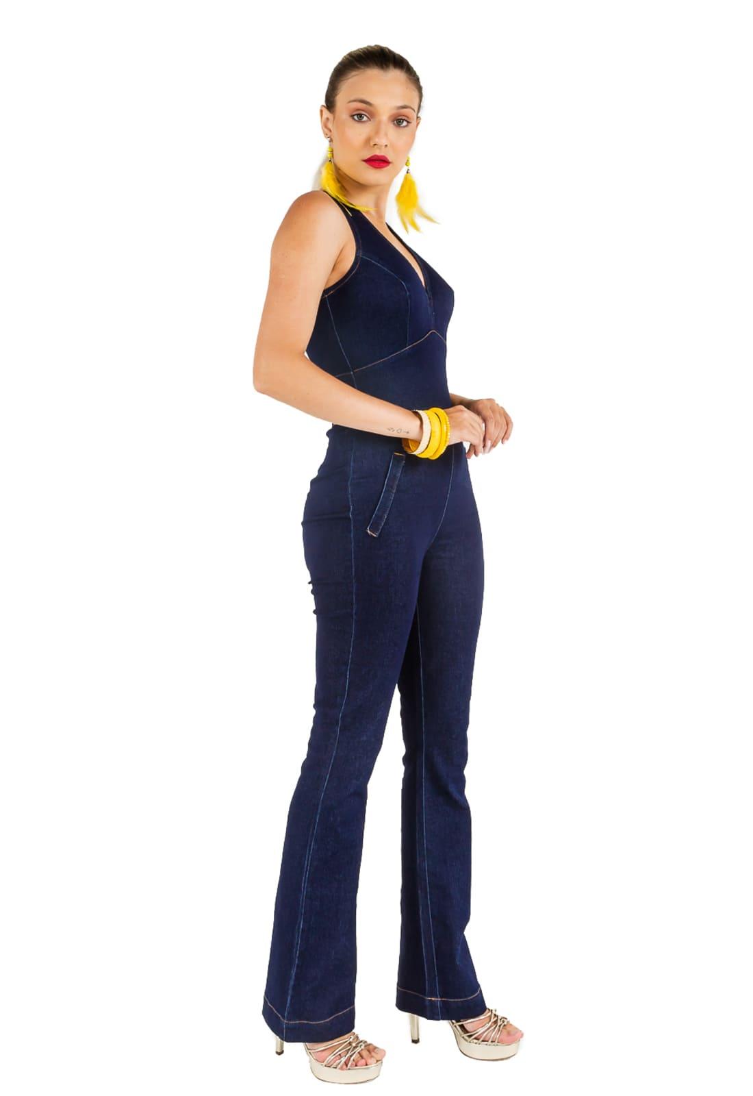 Macacão Jeans Justo