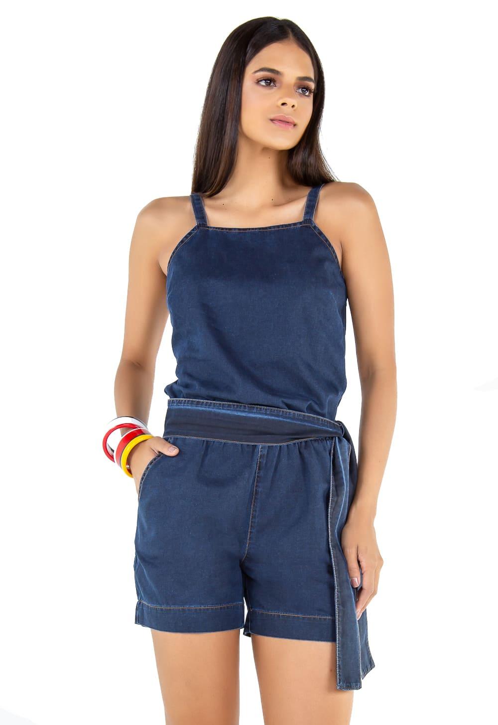 Macaquinho Amarração Jeans