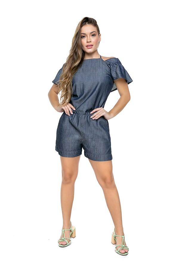 Macaquinho Jeans Feminino Curto em Liocel