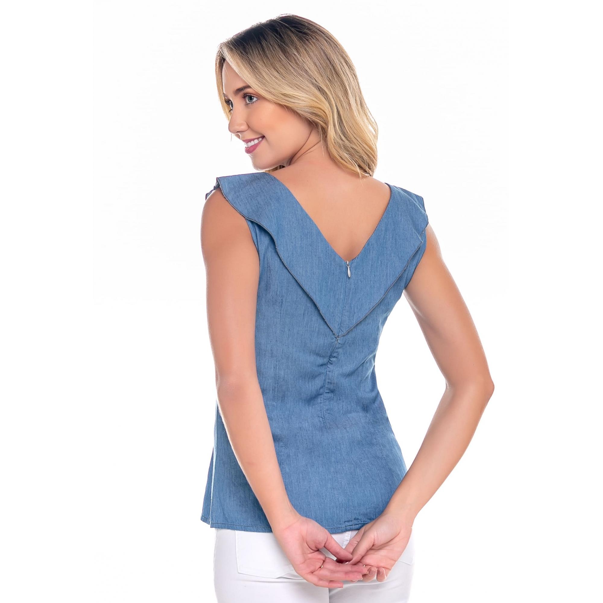 Regata Feminina Jeans Babado Azul