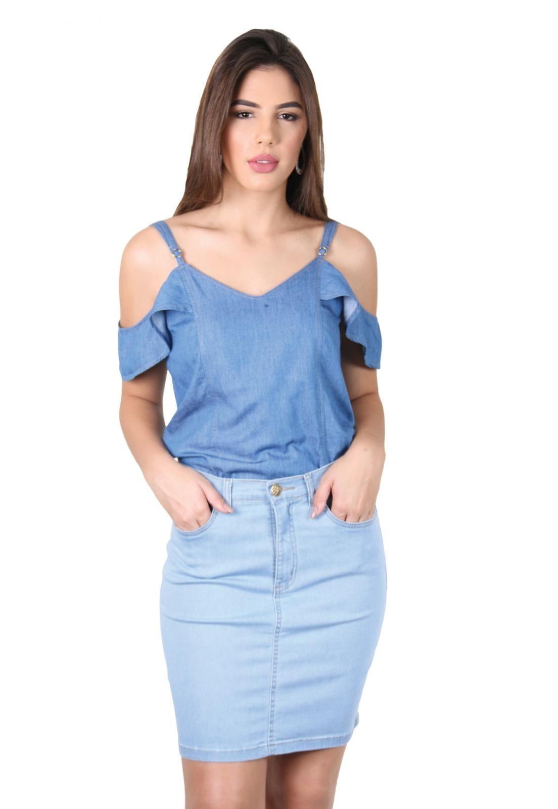 Saia Jeans Curta Azul