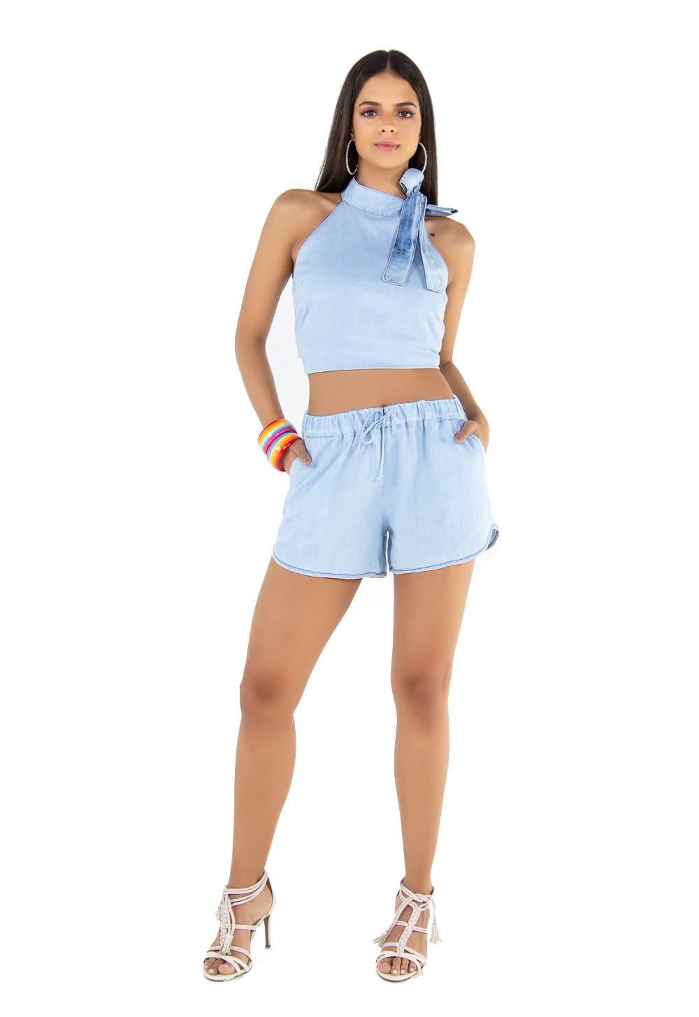 Short Boxer Feminino Jeans Delavê