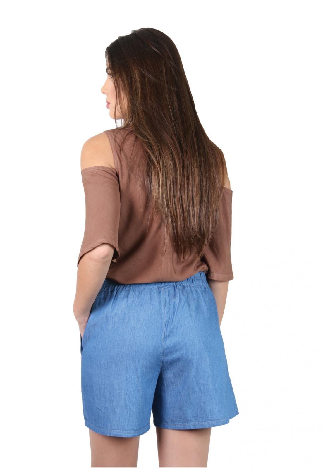 Short Jeans Feminino com Amarração na Frente