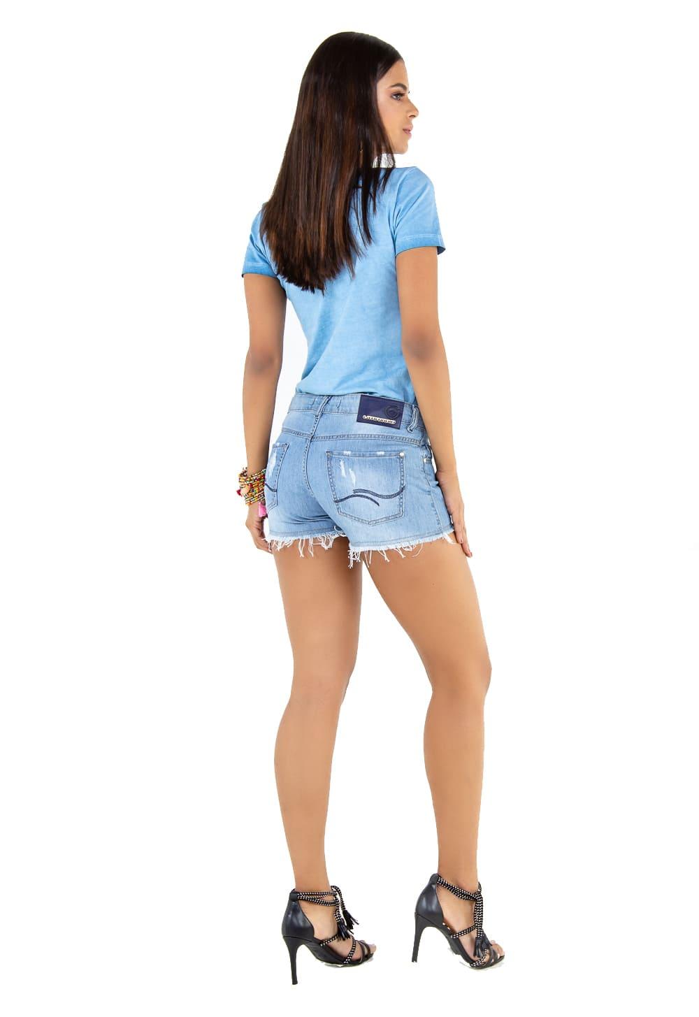 Short Jeans Feminino com Puídos
