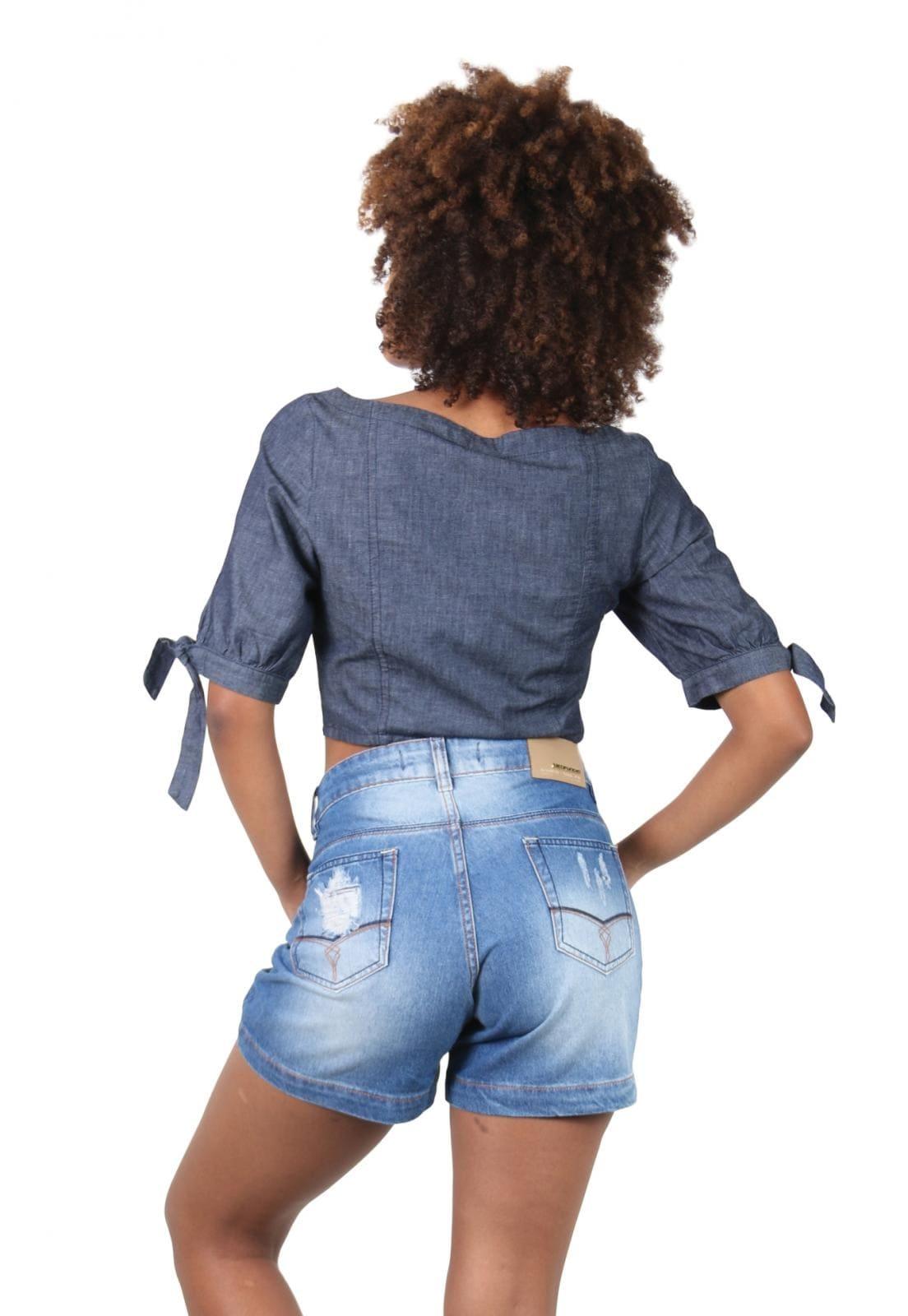 Short Jeans Feminino Rasgado Stone